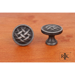 Distressed Nickel Small Cross-Hatched Knob