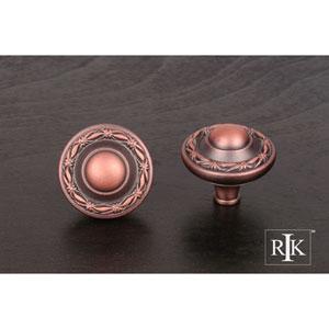 Distressed Copper Small Deco-Leaf Edge Knob