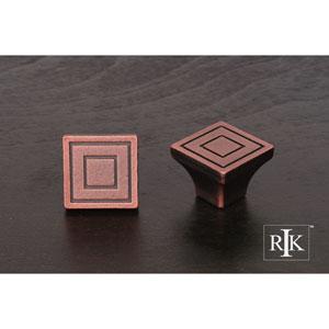 Distressed Copper Large Contemporary Square Knob