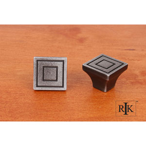 Distressed Nickel Large Contemporary Square Knob