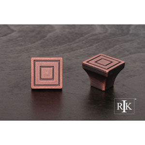 Distressed Copper Small Contemporary Square Knob