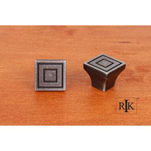 Distressed Nickel Small Contemporary Square Knob
