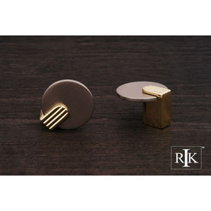Pewter and Brass Round Knob with Brass Stem