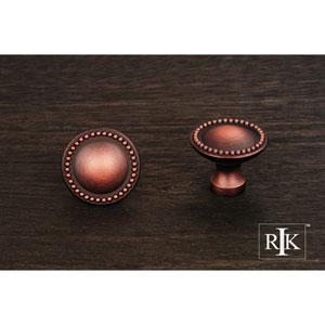 Distressed Copper Plain Knob with Beaded Edge