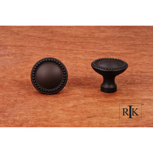 Oil Rubbed Bronze Plain Knob with Beaded Edge