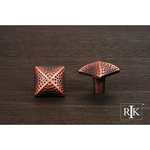 Distressed Copper Square Knob with Divet Indents