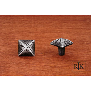 Distressed Nickel Square Knob with Divet Indents