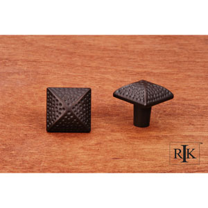Oil Rubbed Bronze Square Knob with Divet Indents