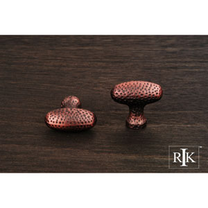 Distressed Copper Slim Egg Knob with Divet Indents