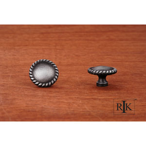 Distressed Nickel Plain Knob with Rope at Edge