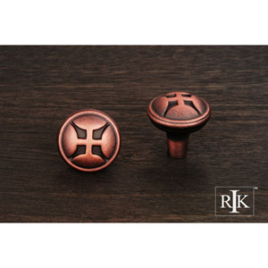 Distressed Copper Solid Four Petal Knob