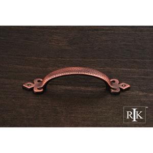 Distressed Copper Divet Indent Bow Pull with Gothic Ends