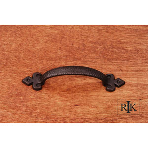 Oil Rubbed Bronze Divet Indent Bow Pull with Gothic Ends