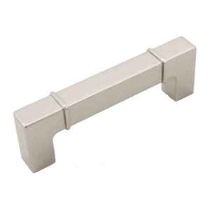 Newbury Satin Nickel 96mm Center to Center Rectangular w/ Lines at Edges Pull