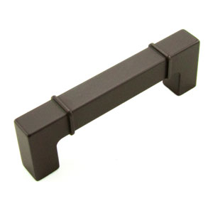 Newbury Oil Rubbed Bronze 96mm Center to Center Rectangular w/ Lines at Edges Pull