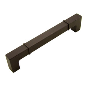 Newbury Oil Rubbed Bronze 6 inch Center to Center Rectangular w/ Lines at Edges Pull