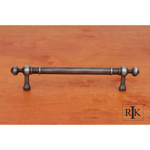 Distressed Nickel Plain Pull with Decorative Ends