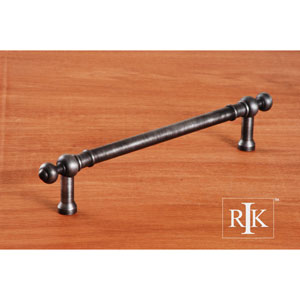 Distressed Nickel Plain Door Pull with Decorative Ends