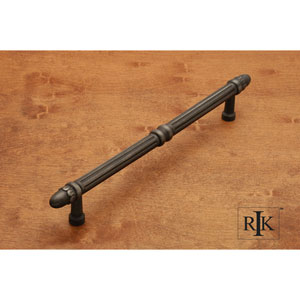 Distressed Nickel Lined Rod Door Pull with Petals at End