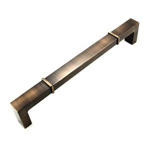 Newbury Brushed English 12 inch Center to Center Rectangular w/ Lines at Edges Door Pull