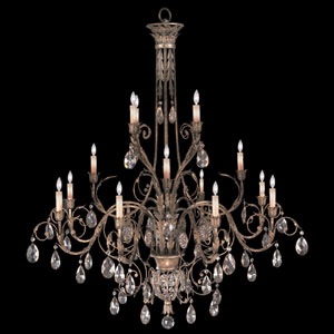 A Midsummers Nights Dream 16-Light Chandelier in Cool Moonlit Patina Finish with Moon Dusted Crystals