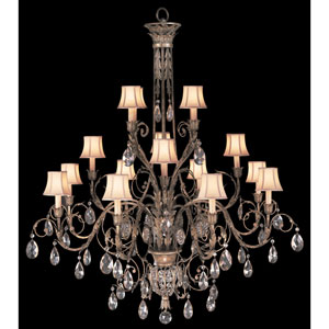 A Midsummers Nights Dream 16-Light Chandelier in Cool Moonlit Patina Finish with Hand Sewn, Silk Shantung Shades