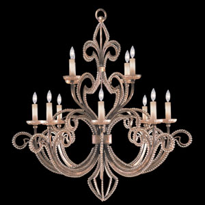 A Midsummers Nights Dream 12-Light Chandelier in Cool Moonlit Patina Finish with Strands of Moon Dusted Crystal Beads