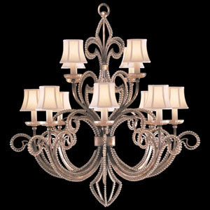 A Midsummers Nights Dream 12-Light Chandelier in Cool Moonlit Patina Finish with Hand Sewn, Silk Shantung Shades