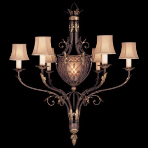 Villa 1919 Six-Light Chandelier in Rich Umber Finish and Gilded Accents