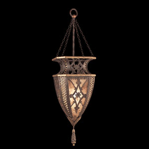Villa 1919 One-Light Pendant in Rich Umber Finish and Gilded Accents with Fleuron and Diamond Designs