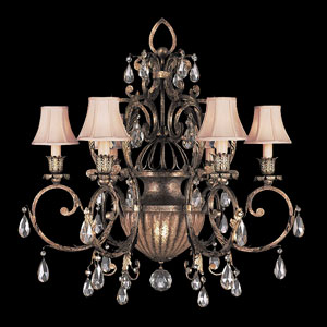 A Midsummers Nights Dream Six-Light Chandelier in Cool Moonlit Patina Finish
