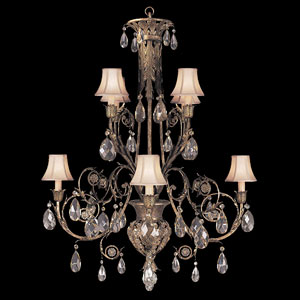 A Midsummers Nights Dream Eight-Light Chandelier in Cool Moonlit Patina Finish