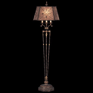 Villa 1919 One-Light Floor Lamp in Rich Umber Finish and Gilded Accents with Hand Painted Mica Shade