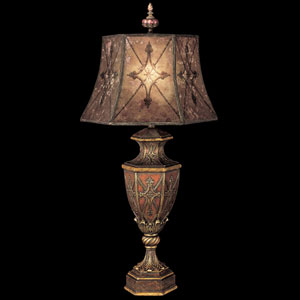 Villa 1919 One-Light Table Lamp in Rich Umber Finish and Gilded Accents with Hand Painted Mica Shade