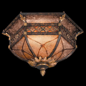 Villa 1919 Two-Light Flush Mount in Rich Umber Finish and Gilded Accents with Mica Panels