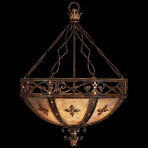 Castile Three-Light Pendant with Antiqued Iron and Gold Leaf Finish with Decorative Iron Leaves