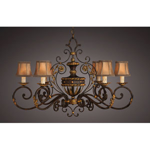 Castile Six-Light Chandelier in Gold Leaf and Antiqued Finish