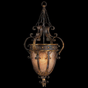 Castile Three-Light Pendant in Antiqued Iron and Warm Gold Leaf Finish with Features Mica Panels