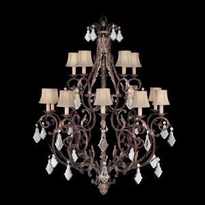 Stile Bellagio 15-Light Chandelier in Tortoised Leather Crackle Finish