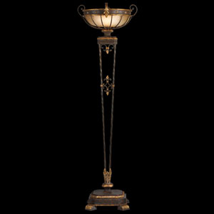 Castile One-Light Torchiere in Antiqued Iron and Gold Leaf Finish