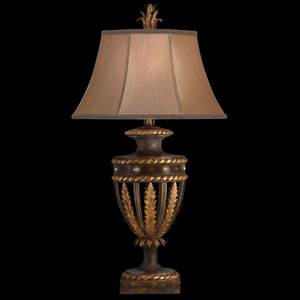 Castile One-Light Table Lamp in Antiqued Iron and Gold Leaf Finish