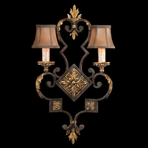 Castile Two-Light Wall Sconce in Antiqued Finish with Gold Leaf Accents