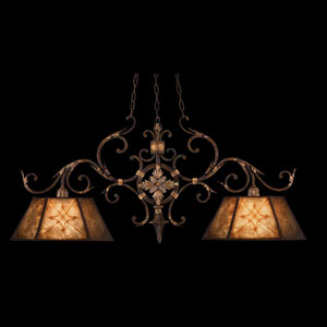 Villa 1919 Two-Light Island Pendant in Rich Umber Finish and Gilded Accents with Natural Mica Shades