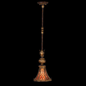 Villa 1919 One-Light Drop-Light Pendant in Rich Umber Finish and Gilded Accents with Natural Mica Shade