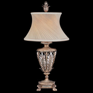 Winter Palace One-Light Table Lamp in Warm Antiqued Silver Finish with Hand Sewn Silk Shade