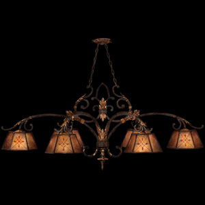 Villa 1919 Six-Light Chandelier with Rich Umber Finish and Gilded Accents with Hand Decorated Natural Mica Shades