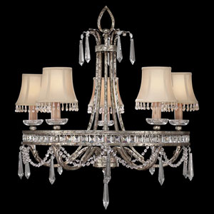 Winter Palace Five-Light Chandelier in Warm Antiqued Silver Finish