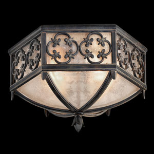 Costa Del Sol Two-Light Outdoor Flush Mount in Wrought Iron Finish