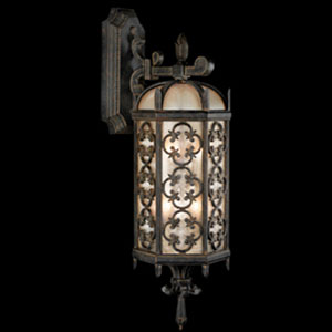 Costa Del Sol Three-Light Outdoor Wall Mount in Wrought Iron Finish