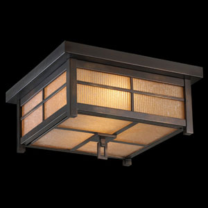 Capistrano Two-Light Outdoor Flush Mount in Warm Bronze Patina Finish